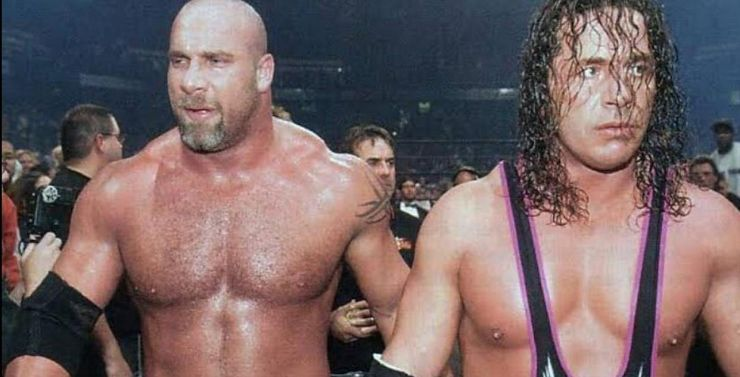 Bill Goldberg and Bret Hart walk