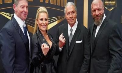 Bret Hart, Natalya, Triple H and Vince McMahon