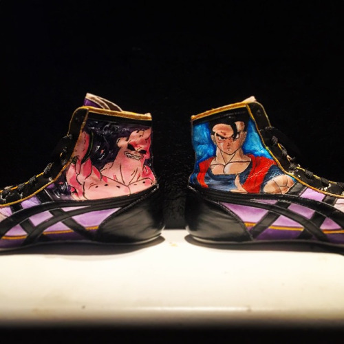 Finished the other side of my wrestling shoes! First time trying...