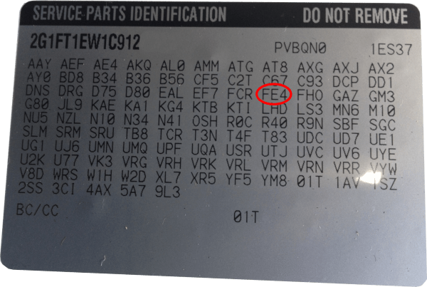 Chevy Rpo Codes Location