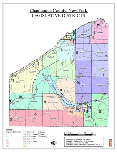 A map of the legislative districts for Chautauqua County.