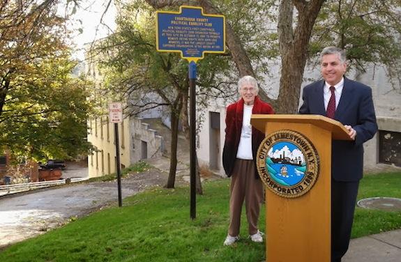 City Historian B. Dolores Thompson and Mayor Samuel Teresi