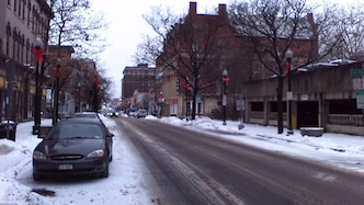 Downtown Jamestown on Monday Morning, Jan. 6, 2014. An arctic air mass is expected to enter the region later today.