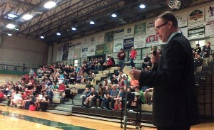 Chamber of Commerce President Todd Tranum welcomes students during the 2014 Tech Wars at JCC on May 20.