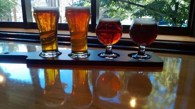 A 'flight' of beer that is offered at Brazil Craft Beer & Wine Lounge in Jamestown, NY (Image from Brazil facebook page)