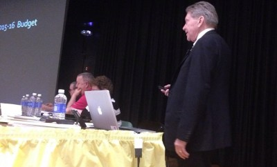 Jamestown School Superintendent Tim Mains presents the tentative 2015-16 budget during the April 7, 2015 school board meeting at Lincoln School.