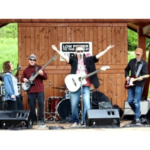 (From left to right): Cindy Love, Jay Peterson, Gary Peters and Jeff Erickson perform as Peters, Peterson, Erickson and Clark as part of the 2015 WRFA Great American Picnic at the Southern Tier Brewing Company. (Photo courtesy of Andy Palermo)