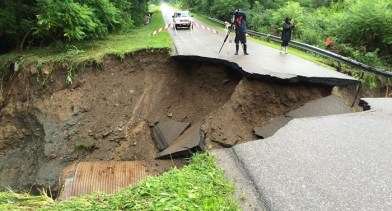 A section of roadway in the town of Portland was washed away due to the large amount of rain that fell in a short period of time during early Tuesday morning, July 14. (Photo courtesy of WIVB)