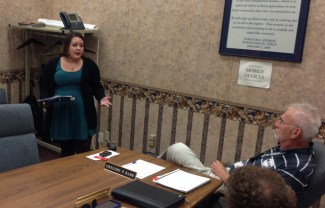 Jamestown Resident Lily Grice talks to Jamestown City Council members during the Sept. 14, 2015 work session, requesting its support to save the Prendergast Library art collection.