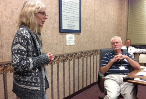 Jamestown resident Dianne Soule addresses the Jamestown City Council on Monday, Sept. 15.
