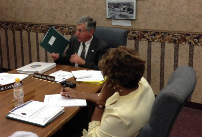 Jamestown Mayor Sam Teresi discusses the 2016 budget with the Jamestown City Council during the Sept. 21 city council work session at city hall.