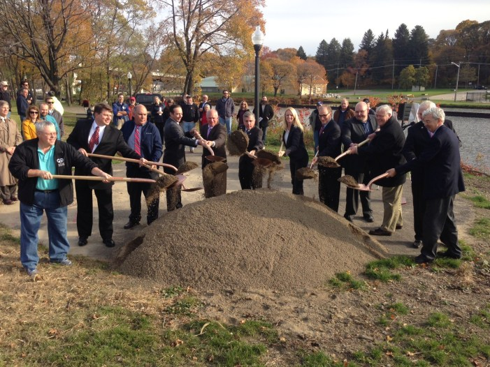 Several officials were on hand Tuesday, Oct. 27 for the groundbreaking ceremony for the start of the newest phase of the Greater Jamestown Riverwalk project - which involves the construction of two pedestrian bridges.