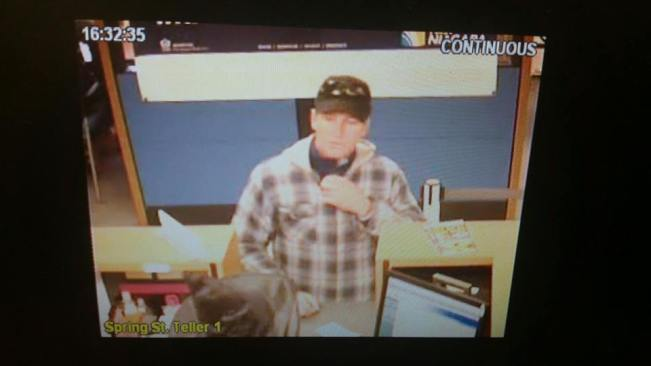An image of the alleged suspect connected to the robbery of First Niagara Bank in Jamestown, NY on Friday, Oct. 30, 2015.
