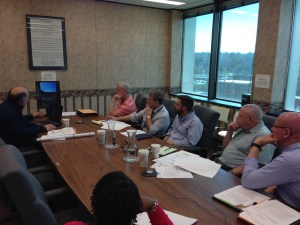 The Jamestown Planning Commission during its April 19, 2016 meeting, reviewing video of LED electronic signage in the city.