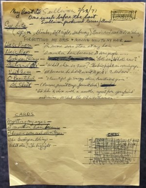 A manuscript containing notes by George Carlin for one of his appearances on the Ed Sullivan Show is one of dozens of items from the Carlin Collection that will soon be housed in the National Comedy Center in Jamestown, NY