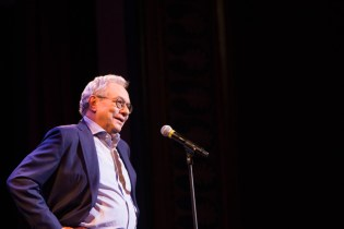 Comedian Lewis Black takes the stage at the Reg Lenna Center for the Arts during the 2016 Lucille Ball Comedy Festival in Jamestown, NY (Jamestown, NY; National Comedy Center)