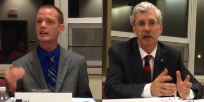 NY State Assembly (150th district) candidates Jason Perdue (D-Jamestown) and incumbent Andrew Goodell (R-Jamestown)