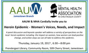 AAUW, MHA Partner to Present Discussion on Heroin Addiction and Impact on Women
