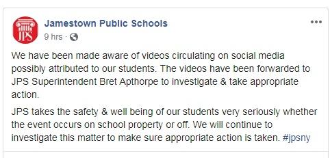 Jamestown School Superintendent Investigating Video of