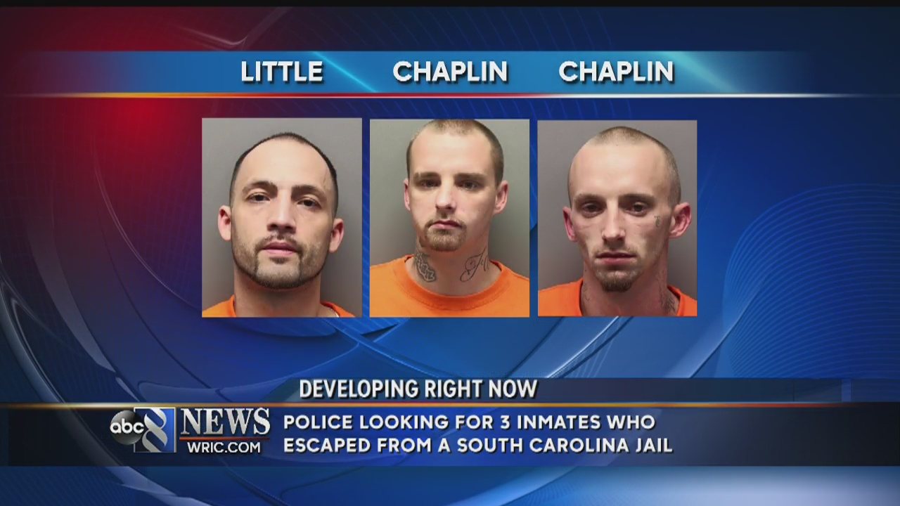 3 South Carolina inmates at large after Sunday morning escape