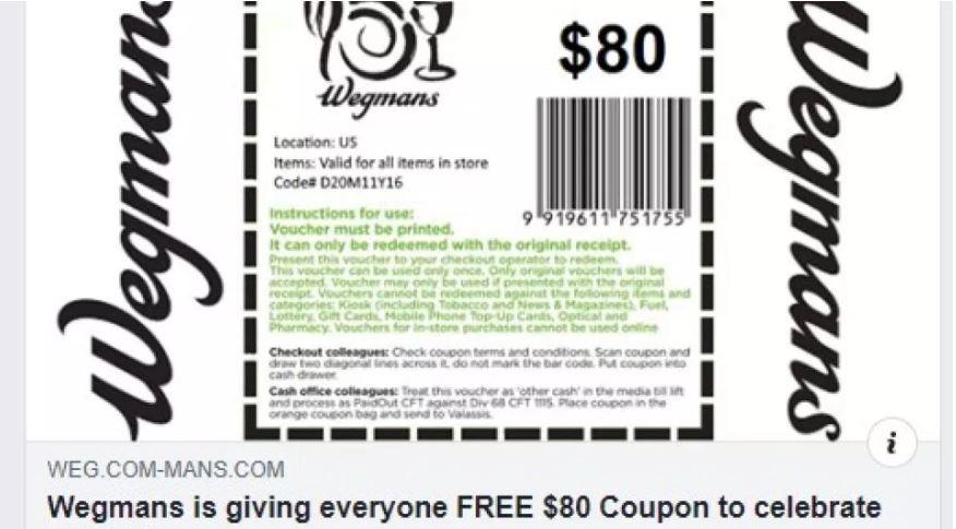 Wegmans warns of Facebook scam involving fake vouchers for