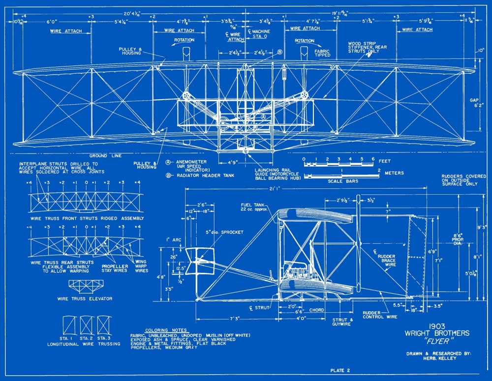 medium resolution of measured drawings of the 1903 wright flyer plate 2 front and side views