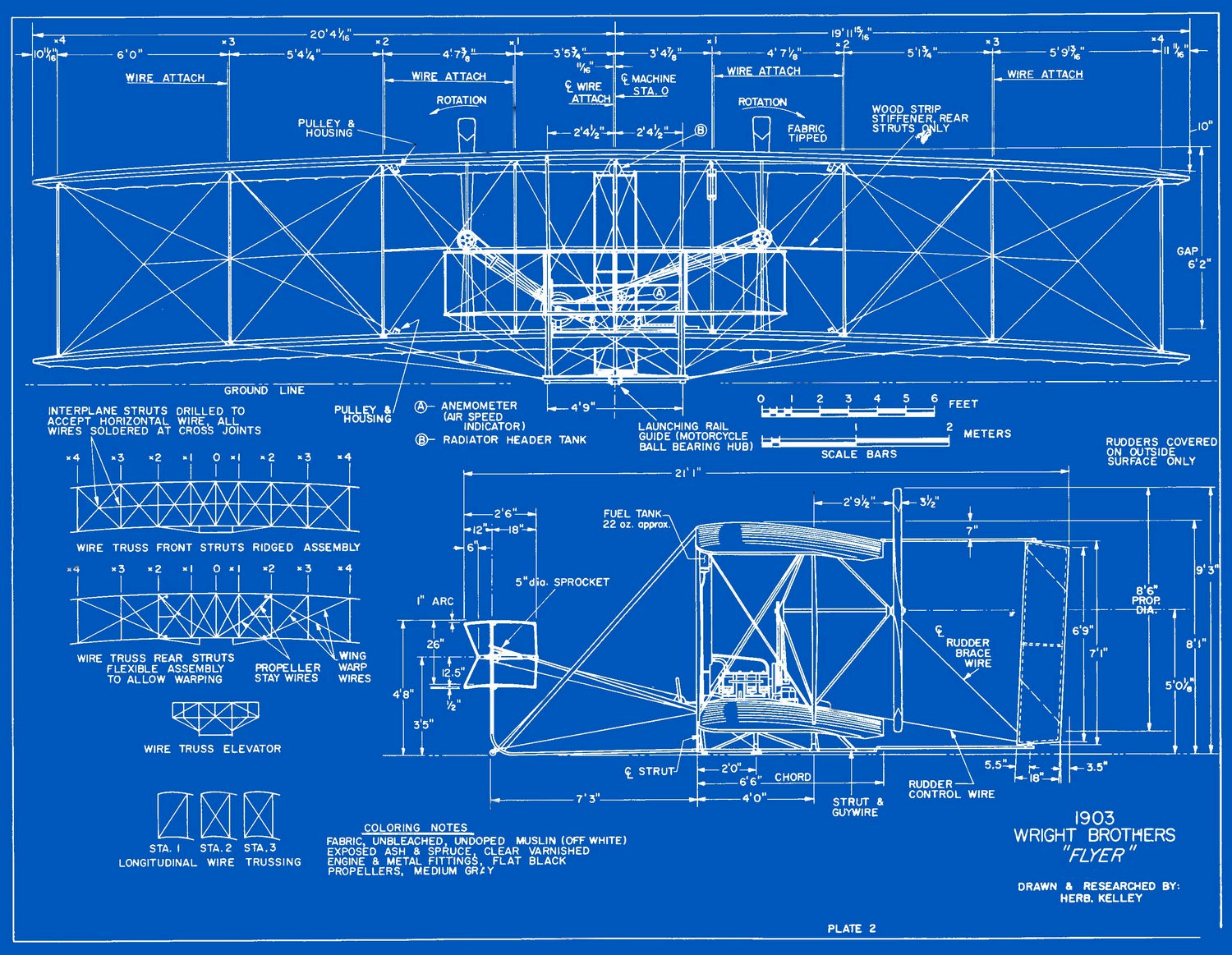 hight resolution of measured drawings of the 1903 wright flyer plate 2 front and side views