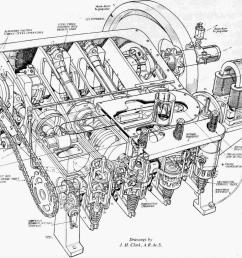 a cutaway drawing of the 1903 engine showing the assembled parts  [ 1145 x 1024 Pixel ]