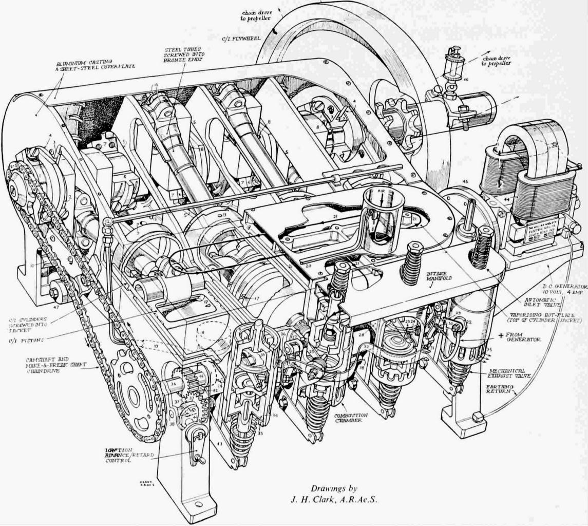 hight resolution of a cutaway drawing of the 1903 engine showing the assembled parts