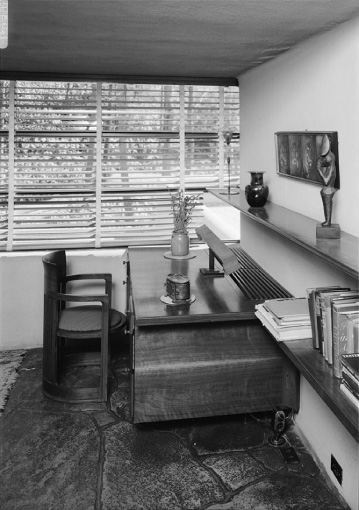 desk and chair at fallingwater