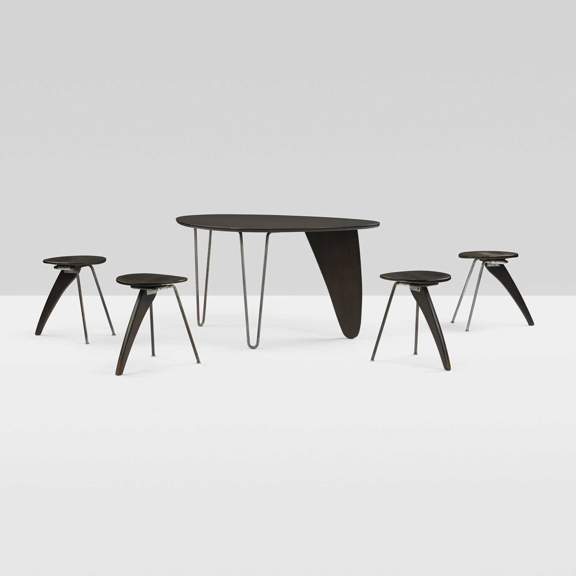 chair experimental design leggett and platt parts 129 isamu noguchi rare important rudder dining suite