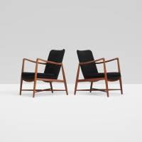 334: FINN JUHL, Fireplace lounge chairs, pair