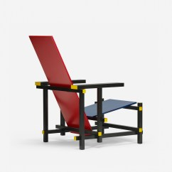 Red Blue Chair Black Leather Club 380 Gerrit Rietveld