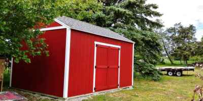 lean-to shed red side double doors