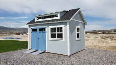 Orchard Shed with Blue Doors and 8' Popout - Wright Shed Co.