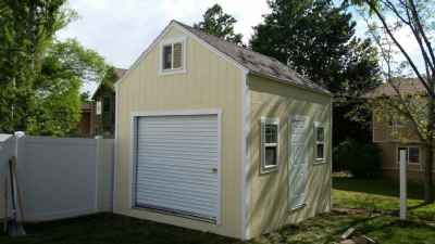 yellow orchard shed roll up door