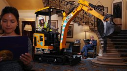 The low noise and zero emissions JCB19C-1E mini excavator pictured in the reading room of London's Caledonian Club