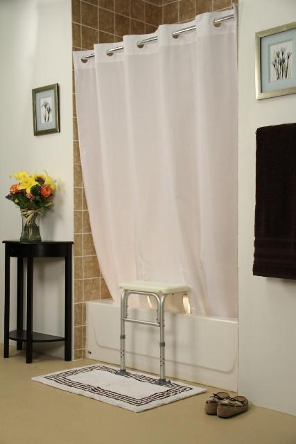 Simplicity Transfer Bench Shower Curtain Keeps Water