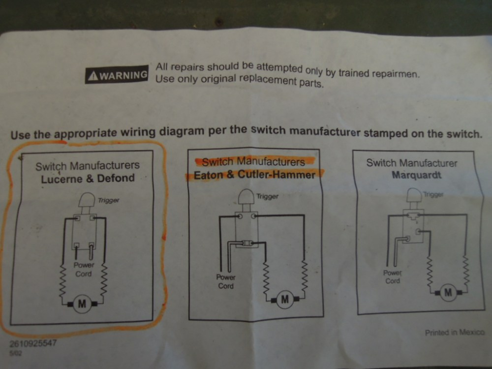 medium resolution of skill saw model 5150 switch replacement u2013 wright way restorationsnew trigger supplied wiring diagram which was incorrect skill saw st wright way