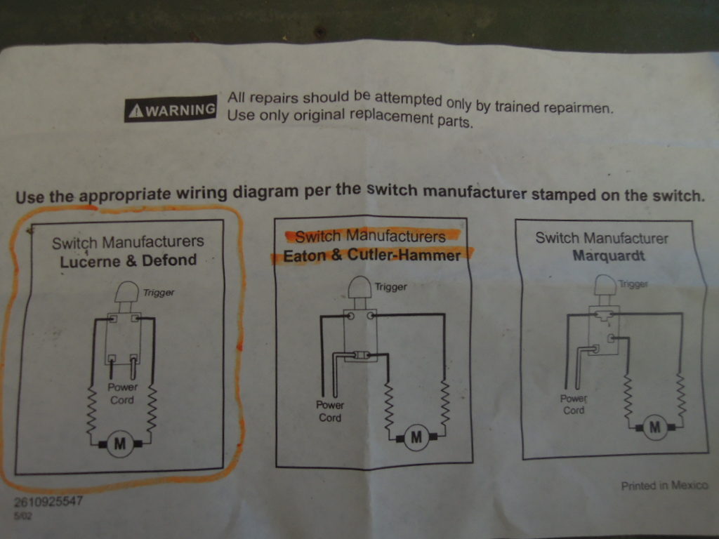 hight resolution of skill saw model 5150 switch replacement u2013 wright way restorationsnew trigger supplied wiring diagram which was incorrect skill saw st wright way