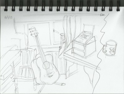 office,guitar,laptop