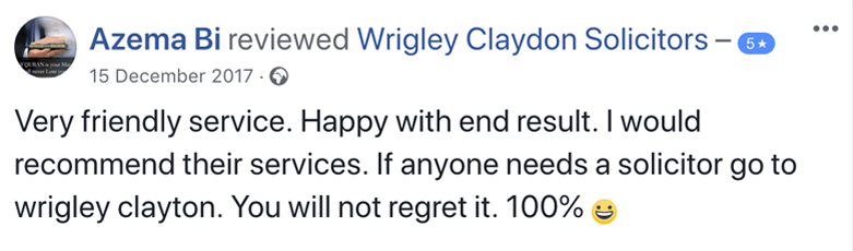 Facebook Review for Wrigley Claydon Solicitors