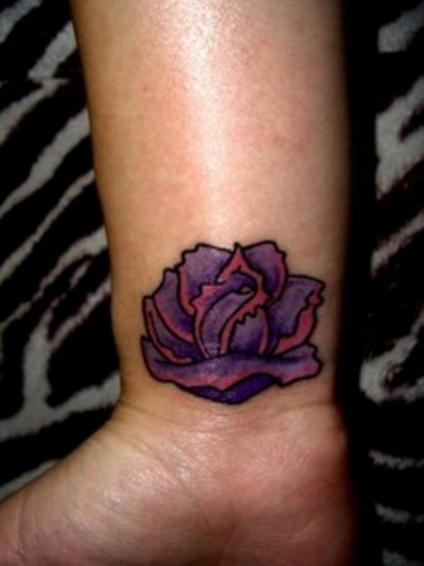 20 Purple Black Rose Wrist Tattoos Ideas And Designs
