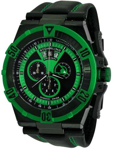 Buy Stuhrling Original Men's 220XL.332P571 Aviator Falcon Blazer Swiss Quartz Multi Function Green Watch from Wristwatch Boutique