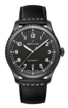 Navitimer 8 Automatic Blacksteel with black dial and black leather strap. (PPR/Breitling)