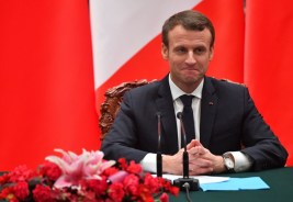 French President Emmanuel Macron speaks during a joint press briefing with Chinese President Xi Jinping, not shown, at the Great Hall of the People in Beijing, China, on January 9, 2018. Chinese President Xi Jinping and French counterpart Emmanuel Macron met Tuesday for talks and to oversee the signing of business deals as the two global leaders seek closer ties. Photo by Christian Liewig/ABACAPRESS.COM | 620980_008 Beijing TraductionBeijing Chine China