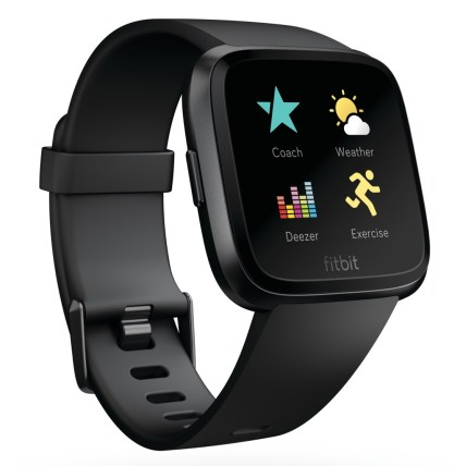 Product render of Fitbit Versa in front view with Deezer app in switcher with coach, exercise and weather