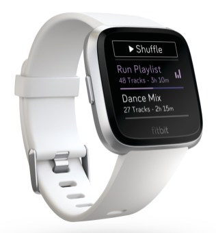Product render of Fitbit Versa in 3 quarter view in classic white showing music playlist on screen