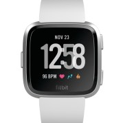Product render of Fitbit Versa in front view in Classic White showing default clock