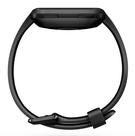 Product render of Fitbit Versa in profile view in classic black